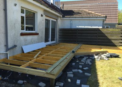unfinished decking in the middle of being built